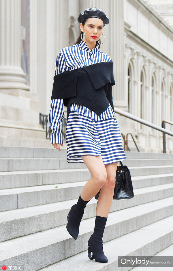 MAY 03, 2017 Kendall Jenner does a Photo-Shoot at The Metropolitan Museum of Art staircase in a black and white striped dress toped with a shoulderless sweater on May 04, 2017 in New York