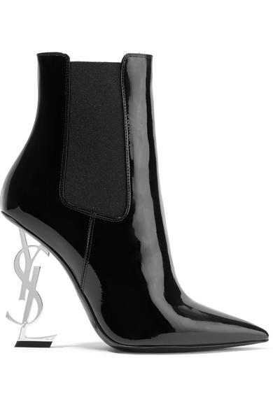 Saint Laurent Opyum 漆皮踝靴