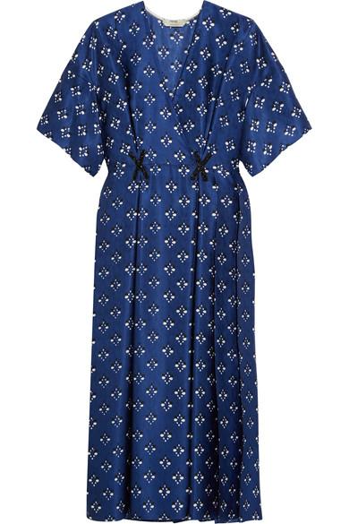 Fendi 带缀饰印花真丝裹身效果连衣裙