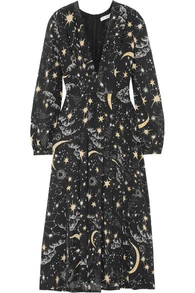 RIXO London Camellia 褶裥印花真丝双绉中长连衣裙
