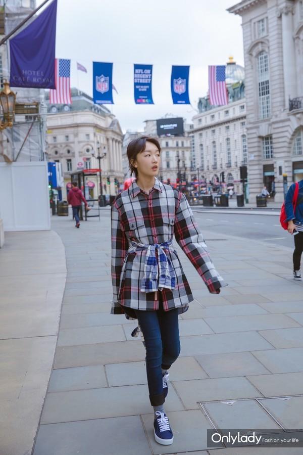 Actress Zhou Dongyu wearing Burberry in London Sep 17th,2017