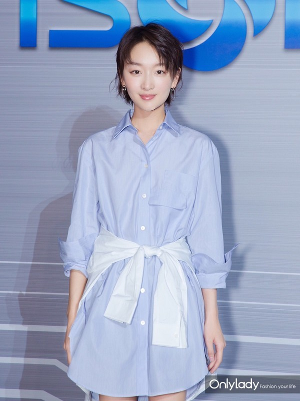 Actress Zhou Dongyu wearing Burberry Double Pocket Cotton Oversize Shirt at the Fashion Event in Beijing Sep20th, 2017