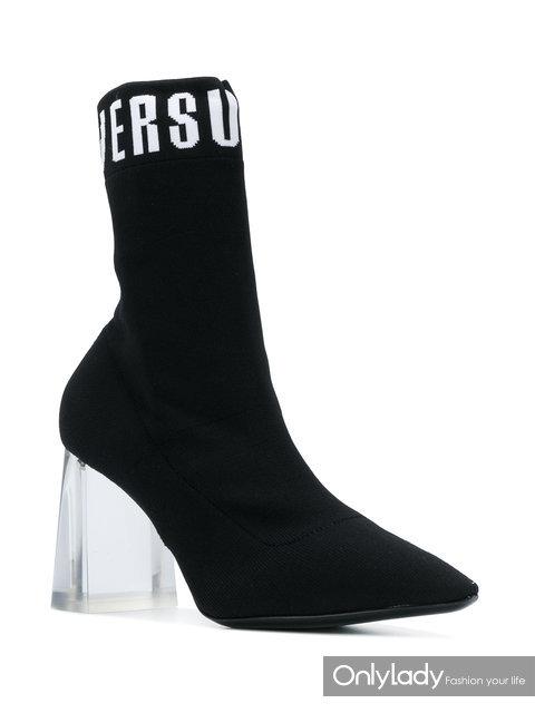 VERSUS 透明粗高跟短袜式及踝靴