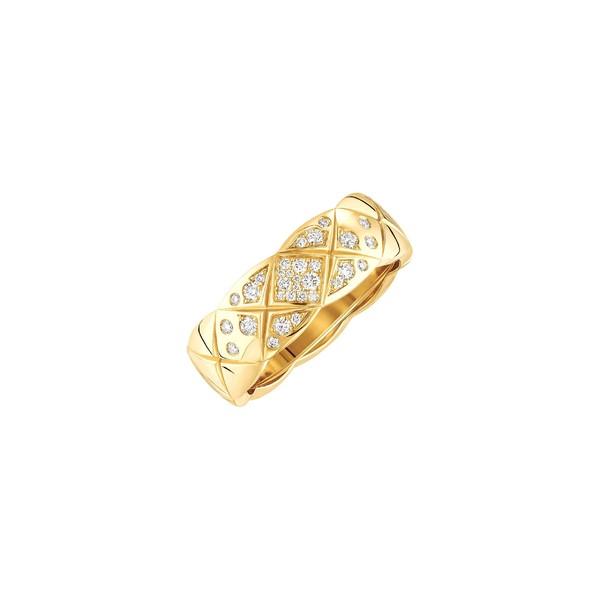 香奈儿高级珠宝COCO CRUSH系列戒指 精致款,菱格纹图案,黄18K金,镶嵌钻石