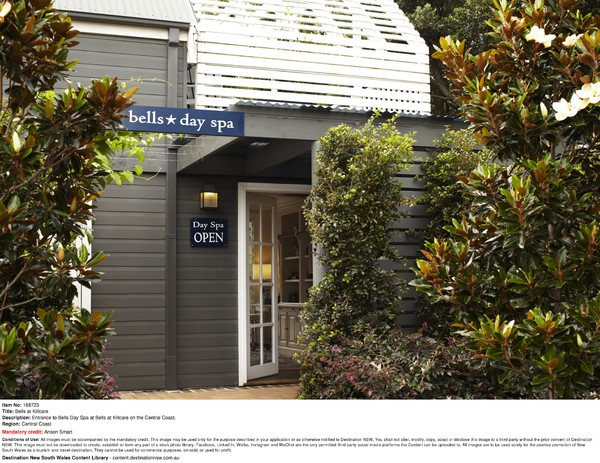 Entrance to Bells Day Spa at Bells at Killcare on the Central Coast.