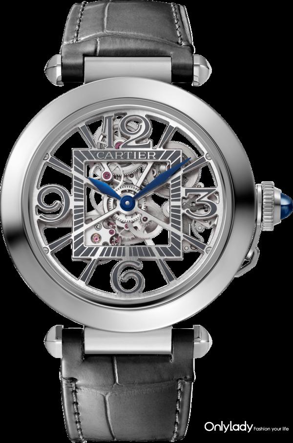 Pasha de Cartier skeleton steel watch 2