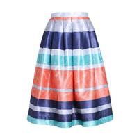 欧时力2014新品条纹印花高腰半身伞裙