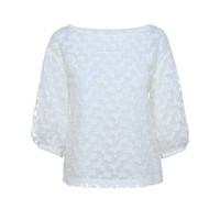 欧时力2014新品蕾丝绣花宽松中袖衬衫