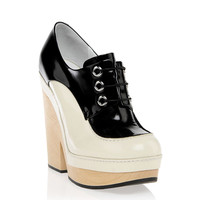 Jil Sander 2014春夏黑白撞色系带厚底鞋