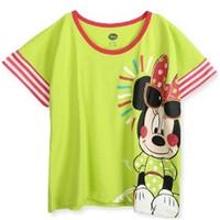 迪士尼拼接印花糖果色纯棉短袖T恤