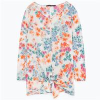 Zara 结饰腰身印花罩衫