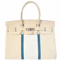 爱马仕(Hermès)H35中蓝三色限量银扣手提包