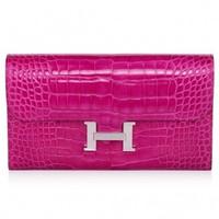 爱马仕(Hermès)H型银扣装饰长款钱包