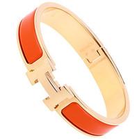 爱马仕(Hermès) 橙色珐琅金H扣手镯