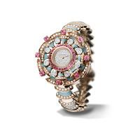 宝格丽Bvlgari 粉碧玺绿松石18K玫瑰金腕表