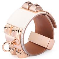爱马仕(Hermès)白色皮质宽版CDC手镯