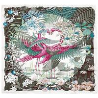 爱马仕(Hermès)白色底玫红色火烈鸟图案丝巾