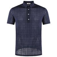 爱马仕(Hermès)海军蓝色格紋Polo衫