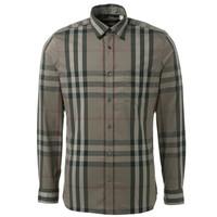 博柏利Burberry 棕灰色男士长袖衬衫