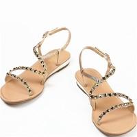 百丽 平底凉鞋扣带坡跟凉鞋