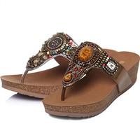 百丽 民族风女鞋夹脚厚底凉拖鞋