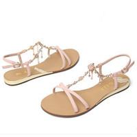 百丽 粉色羊皮女凉鞋